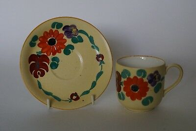 Grays Pottery - Free hand painted Floral - Coffee Cup & Saucer - Susie Cooper
