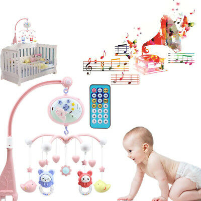 Baby Crib Remote Control Bed Bell Holder Kid Toy Bracket Wind-Up/Auto Music Box