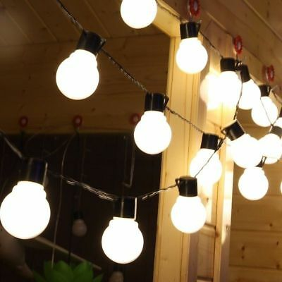 Outdoor LED Solar Light Bulb String Garden BBQ Party Lights Warm White/Colorful
