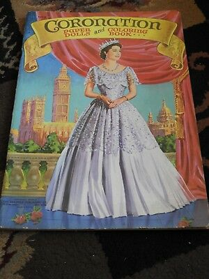 Vintage 1953 Saalfield CORONATION Paper Dolls & Coloring book Unused Elizabeth
