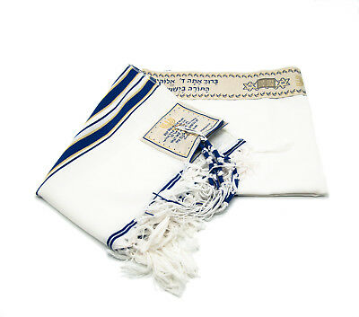 Messianic Tallit Large Prayer Shawl Talit Blue And Gold With Talis Bag