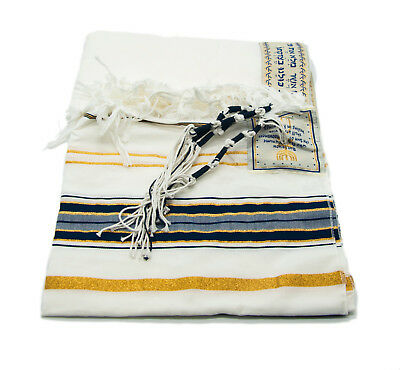Messianic Tallit XL Prayer Shawl Talit Dark Navy And Gold With Bag