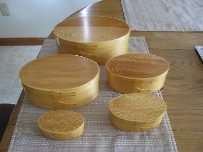 New Reproduction Shaker Box set of 5 Maple with Lacewood tops hand made