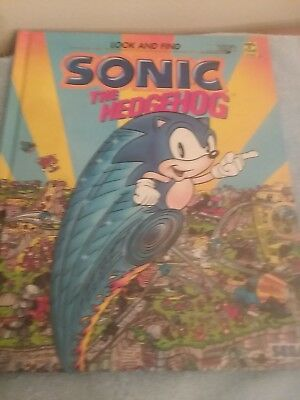 LOOK AND FIND SONIC THE HEDGEHOG BOOK RETRO 1995 Hard Cover Used