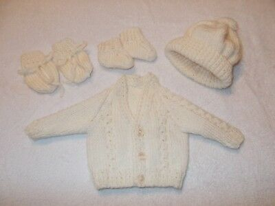 """Cream Cardigan Bobble  Mittens And Booties  15""""chest"""