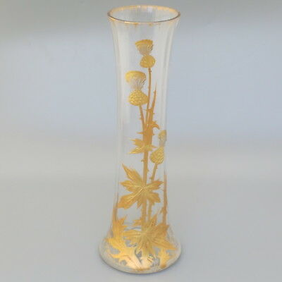BACCARAT Antique French Crystal Flower Vase Art Nouveau Gold Gilt Enamel Thistle
