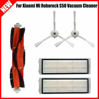 For Xiaomi Mi Roborock S50 Vacuum Cleaner Main Brush + 2 Side Brushes + 2 Filter
