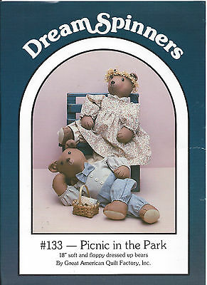 "PICNIC IN THE PARK 18"" Soft Floppy Dressed Up BEARS DreamSpinners #133 Pattern"