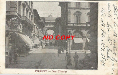 cartolina Firenze - via strozzi 1904 con francobollo integro - animata - bella