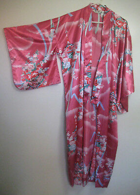 Pink Oriental Japanese Kimono Dress Robe Costume ~ One Size Fits Most
