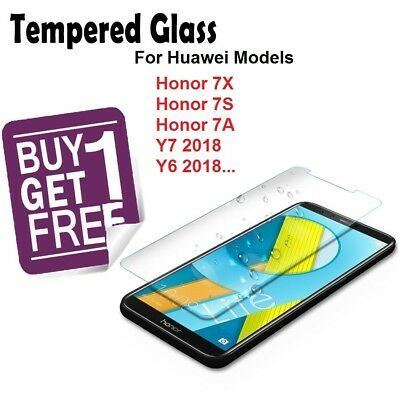 Genuine Tempered Glass Screen Protector cover For Huawei Y6 Y7 2018 Honor 7S 7A