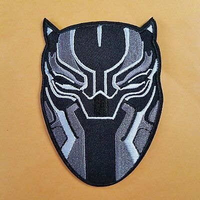 Black Panther Mask Logo Patch approximately 4 inches tall and 3 inches wide