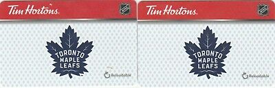 2 Tim Hortons Toronto Maple Leafs $0 Value Collectible Gift Cards