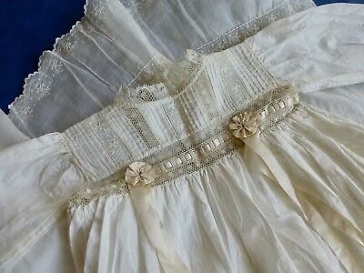 Antique Edwardian Victorian style babys christening dress gown lace ribbons