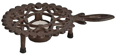 Cast Iron Round Pot Food Warmer BBQ Outdoor Dining Picnic Tea Light Trivet New