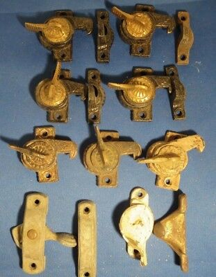 Several Eagle Wing Ornate Antique Victorian Cast Iron Window Sash Lock & Keepers