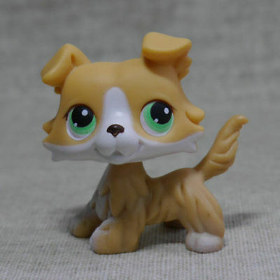 2'' Brown  Colly Collie Dog Green Eyes Kids Toys Puppy Littlest Pet Shop LPS222