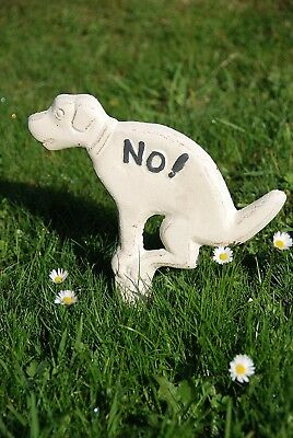 No Fouling Dog Poo Lawn Sign Antique White Painted Cast Iron Garden 32 cm New