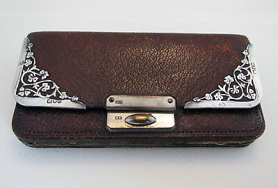 Antique Victorian 1900 Sterling SILVER Leather Wallet Purse Coin Card Stamp Case