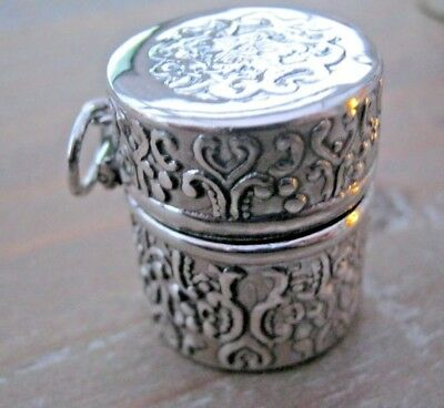 Pretty Nouveau Style English Hallmarked Sterling Silver Thimble Case Chatelaine