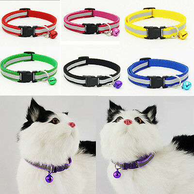 Adjustable Pet Cat Dog Puppy Glossy Reflective Collar Safe Buckle Bell Strap HOT