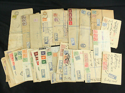 Lot of 37 Great Britain Registered Covers 1890s-30s w/Rare Cancels, Destinations