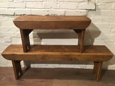Old School Antique 5ft Rustic Reclaimed Pine Dining Plank Table Chair BENCH