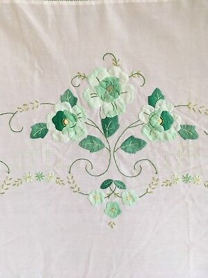 Large Vintage Raised Applique Work & Embroidered Detail Tablecloth