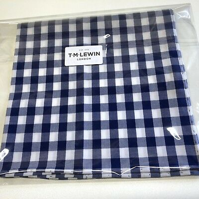 Mens Pocket Square T.M.LEWIN Navy Blue Large Gingham Hand Rolled Handkerchief