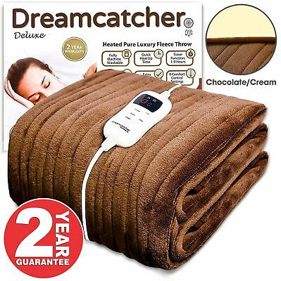 Xl Luxury Electric Blanket Soft Fleece Throw Over Heated Sofa Washable Brown