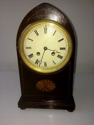 Antique Edwardian Mahogany Inlaid 8 Day French Movement Lancet Top Mantel Clock