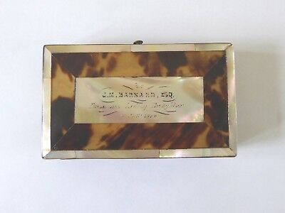Victorian Card Case, M of P, Tortoseshell, with inscription for 1874. (01)