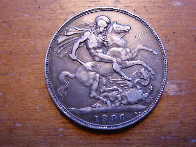 British Sterling Silver Crown Coin  Queen Victoria 1896