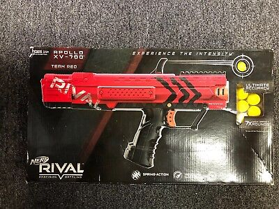 Nerf Rival Apollo XV-700 TEAM RED Blaster Gun w 7 HIR Yellow ball rounds NEW BOX