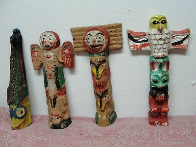 4 Vintage Hand Painted Clay Pottery Totem Pole Figure Owl Bird Figure 4""