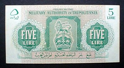 BRITISH MILITARY AUTHORITY IN TRIPOLITANIA ~ 5 LIRE 1943 v/f.