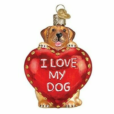 Old World Christmas I Love My Dog Glass Blown Ornament