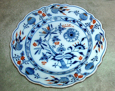 "Meissen Blue Onion Dessert/salad Plates Hand Painted (3) 8 1/2"" Red Gold Trim"
