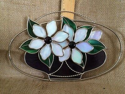 Beautiful Stained Glass Sun Catcher-Flower Design-Professionally Done-Iridescent
