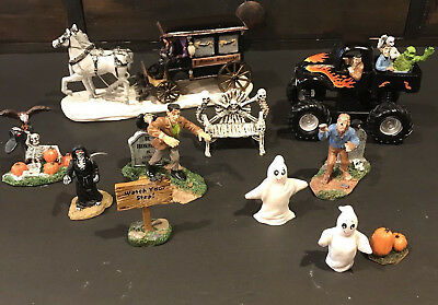 Lemax Spooky Town Collection Accessories Hearse Truck Frankenstein Lot of 11