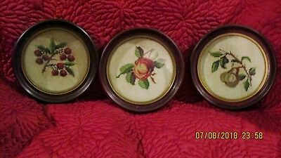 Antique Needlepoint Fruit Lot Of 3  Hand Made In Round Frames Wall Plaque