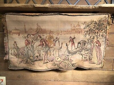 """Antique Vintage Italian Venice Scene Wall Tapestry 34""""x 19"""" Made in Italy Rug"""