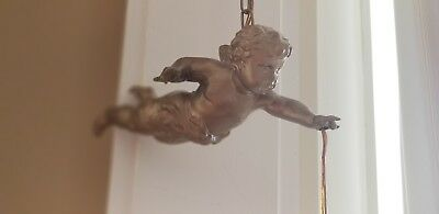 Charming! French Antique Cherub Putti Rose Shade Chandelier Light