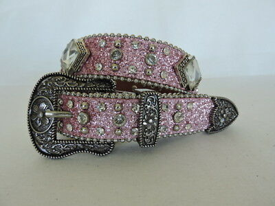 Kids' Pink Sparkling Rhinestone and Silver Studs Western Leather Belt