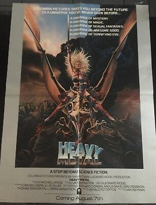 1981 Heavy Metal Original Taarna  Movie Poster Achilleos Art Original 24.5 x 18