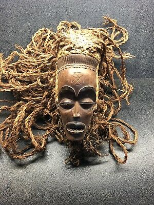 Antique African Tribal Wooden Mask Chokwe