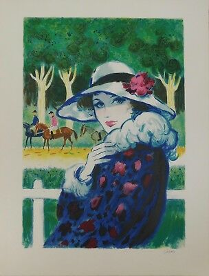 Lithografie - Amadeu Casals - Lady at the Races