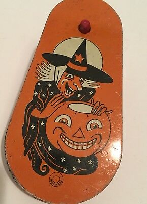 Vintage Witch JOL Noisemaker US Metal Toy Mfg Co USA Wooden Handle