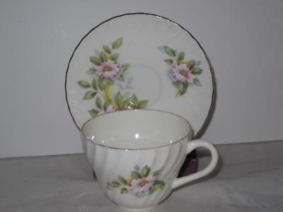 Crown Staffordshire Teacup Cup & Saucer Set Pink Roses A15