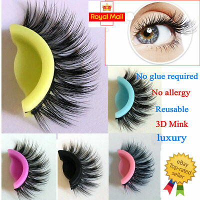 3D Mink Self Adhesive No Glue Luxury Eyelashes Hand Made Extension Reusable UK